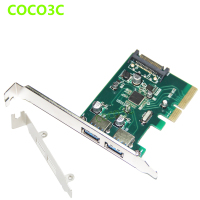 2 ports USB 3.1 Type A PCI e Controller Card Desktop PCI Express x4 to USB3.1 Adapter