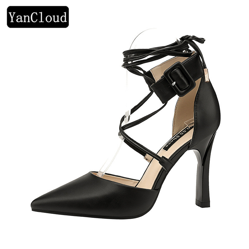 Fashion Pointed Toe Sexy Prom Party Shoes Woman Summer 2018 Lace up Gladiator Sandals Women High Heel Sandals Ladies fedonas new women gladiator sandals wedges high heel fashion ladies glitters wedding party shoes woman platforms summer sandals