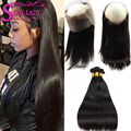 Cheap 360 Lace Frontal With Hair Bundles Brazilian Straight Hair Lace Frontal Closure With Bundles Pre Plucked 360 Frontal