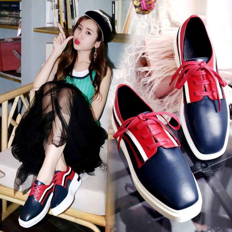 ФОТО Fashion Women Flats Platform Shoes 2017 Spring Summer Women Oxfords Shoes Lace Up Patchwork Color Lady Real Leather Casual Shoes