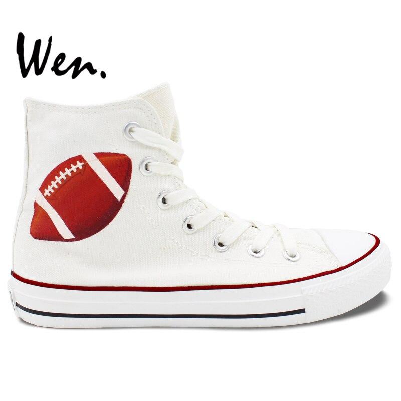 Prix pour Wen Custom Design Peint À La Main Chaussures de Rugby Amérique Football Hommes Femmes Blanc High Top Toile Sneakers pour Cadeaux D'anniversaire