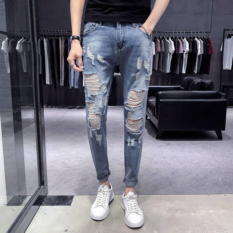 2018 summer hole jeans mens Korean version of Slim pants feet pants youth stretch thin section trousers