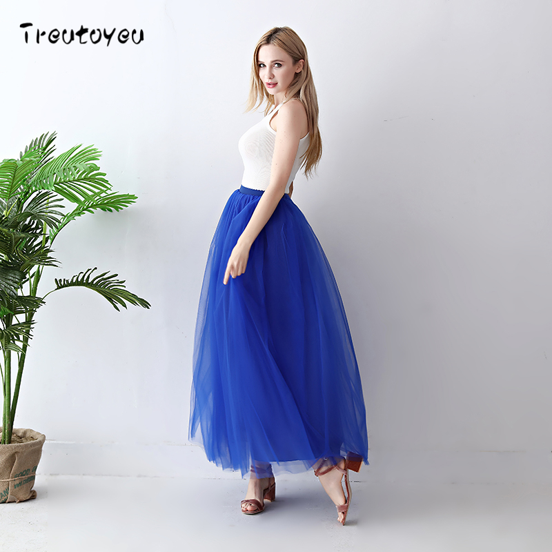 Image 4 - Treutoyeu 5 Layers Maxi Long Women Skirt Tulle Skirts Bridesmaid Wedding Skirt Free Size Faldas Saias Femininas Jupe-in Skirts from Women's Clothing