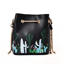 2017 Chain women Bucket Bag Embroidery Cactus Shoulder Bag Ladies  Floral  Mini Crossbody Purse Handbag 62c9f7ba6d5a4