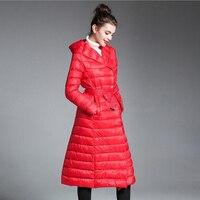 Donna extra lungo parka per le donne inverno cappotto caldo trapuntato piumini di lusso marchi di design ispessito con cappuccio rosso nero