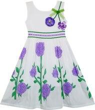 Sunny Fashion платья для девочек Принцесса Пурпурный Роза Цветок Сад Вечеринка