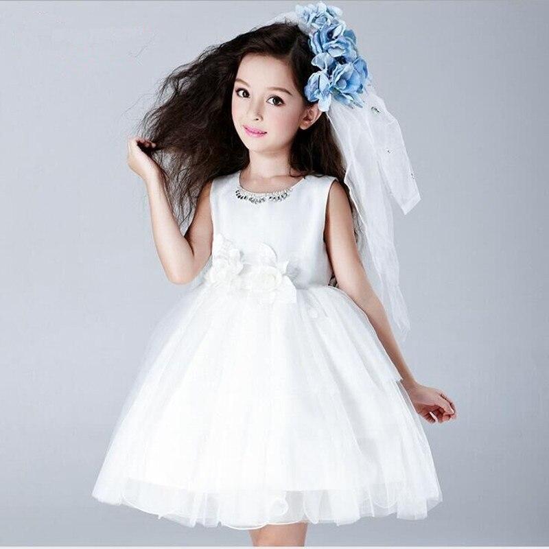 ФОТО 2016 new children girl dress flower girl dresses tutu wedding Performance dress white for 3-14T