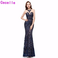 Navy Blue Sequins Long Mermaid Evening Dresses 2019 Sleeveless African Women Formal Evening Party Gowns Social Occasion Dress