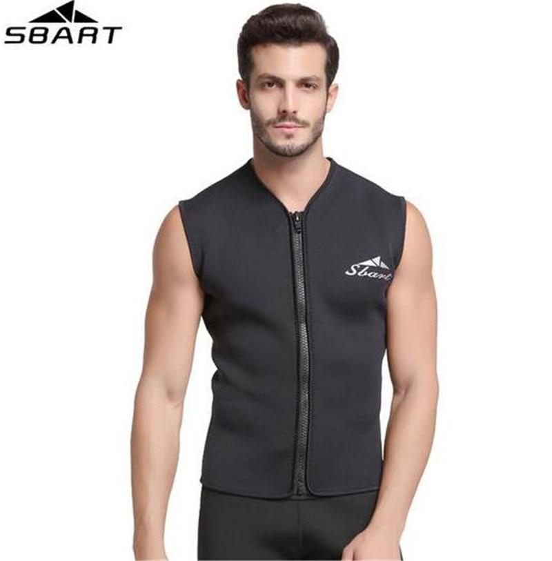 SBART 5MM Neoprene sleeveless Jumpsuit For Men Wetsuit Scuba Dive Jacket Wet Suit Top Winter Swim