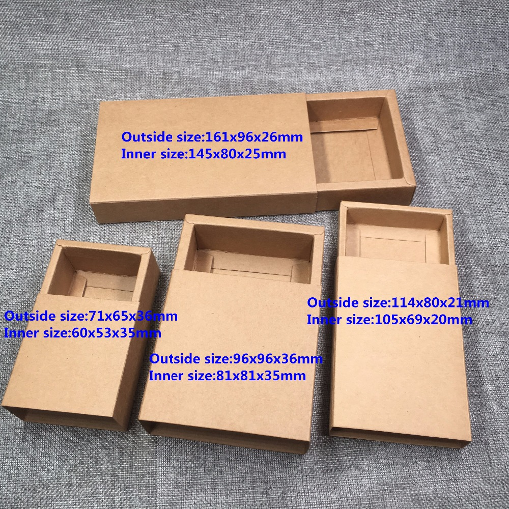 24pcs Kraft Paper Drawer Boxes DIY Blank Gift Boxes For Gift\Handmade Soap\Crafts\Jewelry\Macarons\Candy Packing Boxes 4 Size