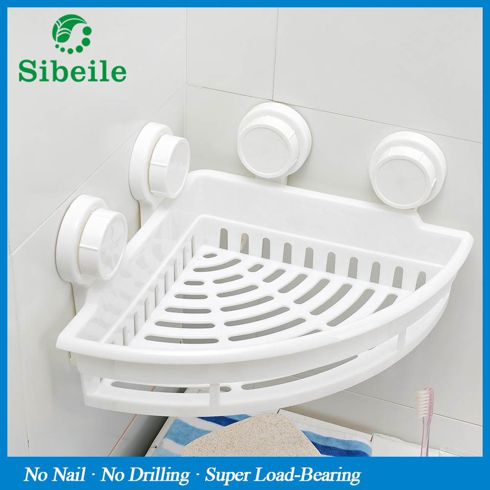SBLE New Arrival Powerful Sucker Corner Shelf Bathroom Kitchen Storage Organization Rack ABS High Quality Bathroom Shelf 37cm