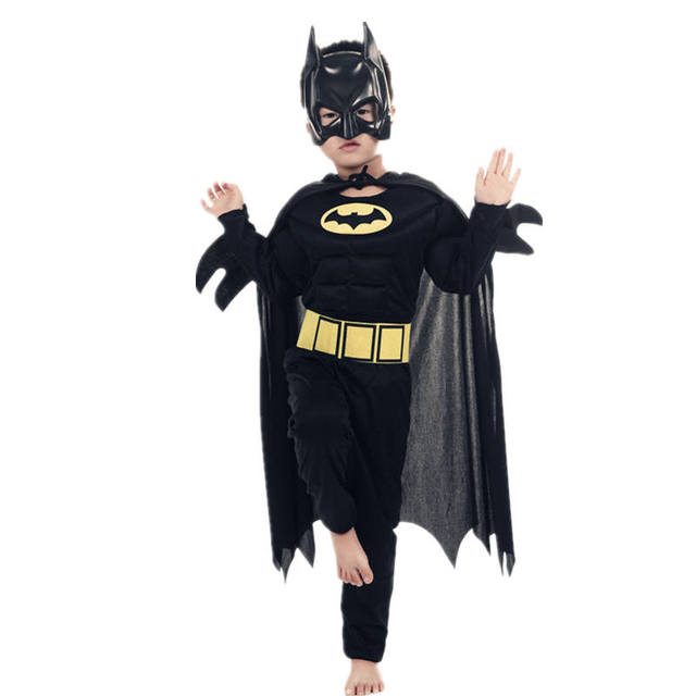 Kids Boys Muscle Batman Costumes With Mask Cloak Movie Character Superhero Cosplay Halloween Masquerade Evening Superman Role Pl 4