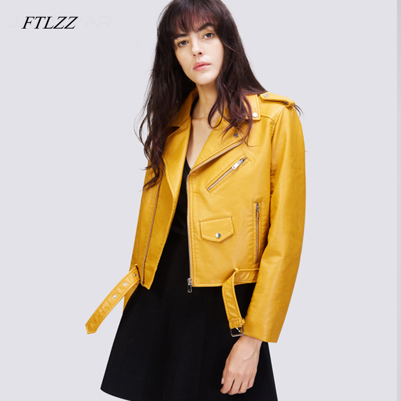 FTLZZ Autunm Winter Yellow Pu   Leather   Jackets Lady Bomber Motorcycle Cool Outerwear Short Coat With Belt Coat S-XXL