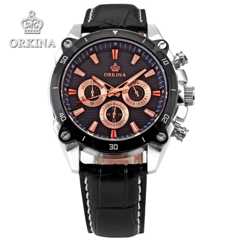 1128f7d38c123 2 Cores Orkina Mens Parada Sports Quartzo Analógico Pulseira de Couro  Relógio de Prata Caso Militar Masculino relógios de pulso de Aço Inoxidável  Preto