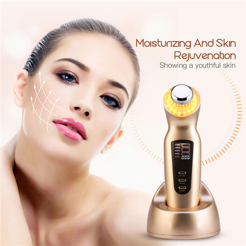 Facial Body Lifting Firming V Shape Beauty Machine Massager Ultrasonic Ionic Skin Scrubber Cleanser Face Pore Cleaning Device new upgrade la goodwind facial body lifting firming v shape beauty skin care face massager machine electric spa tool 100 240v