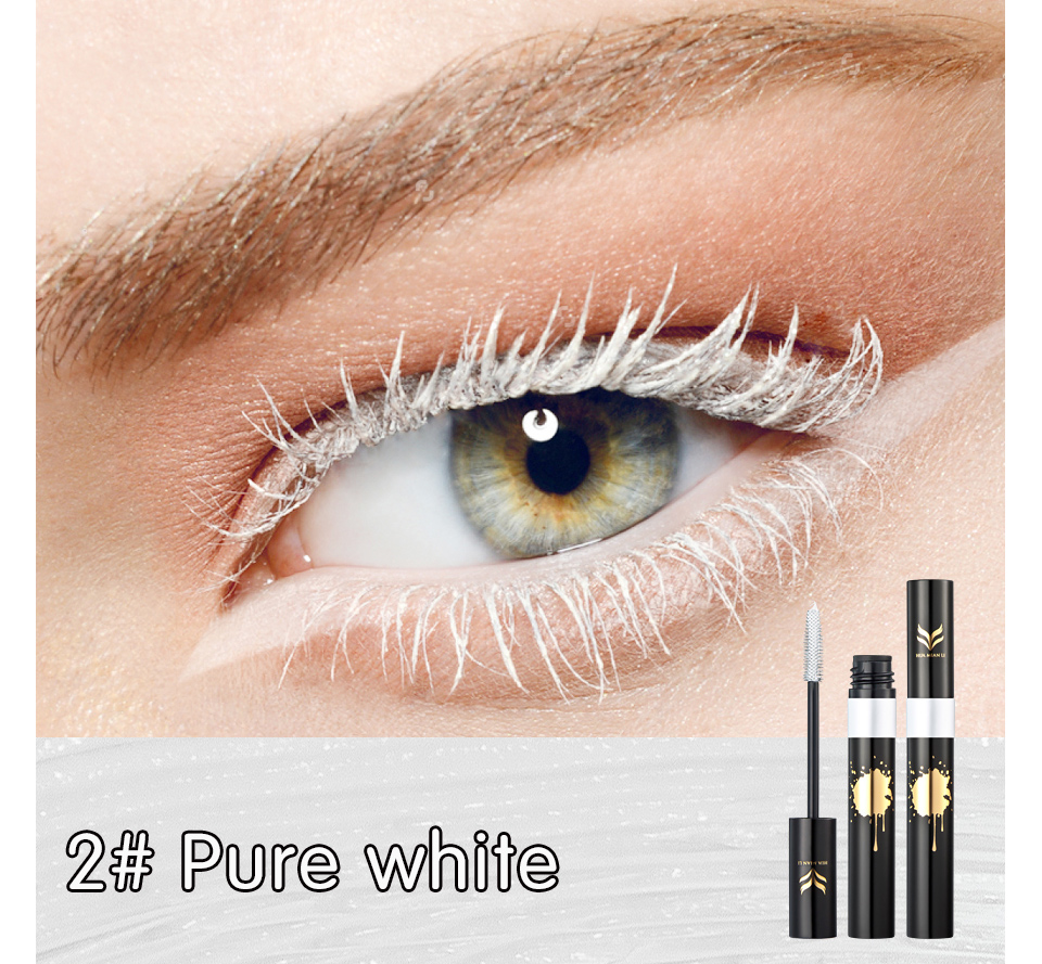 HUAMIANLI Colorful Green Blue Mascara Waterproof Lengthening Curling Eye Lashes Silicone Women Professional Makeup 3D Mascara 8
