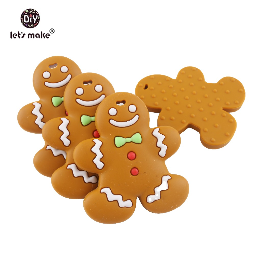 Dental Care 100% Quality Lets Make 1pc Baby Teether Gingerbread Man Bpa Free Silicone Teether Diy Crafts Accessories Holiday Gift To B Teething Toys