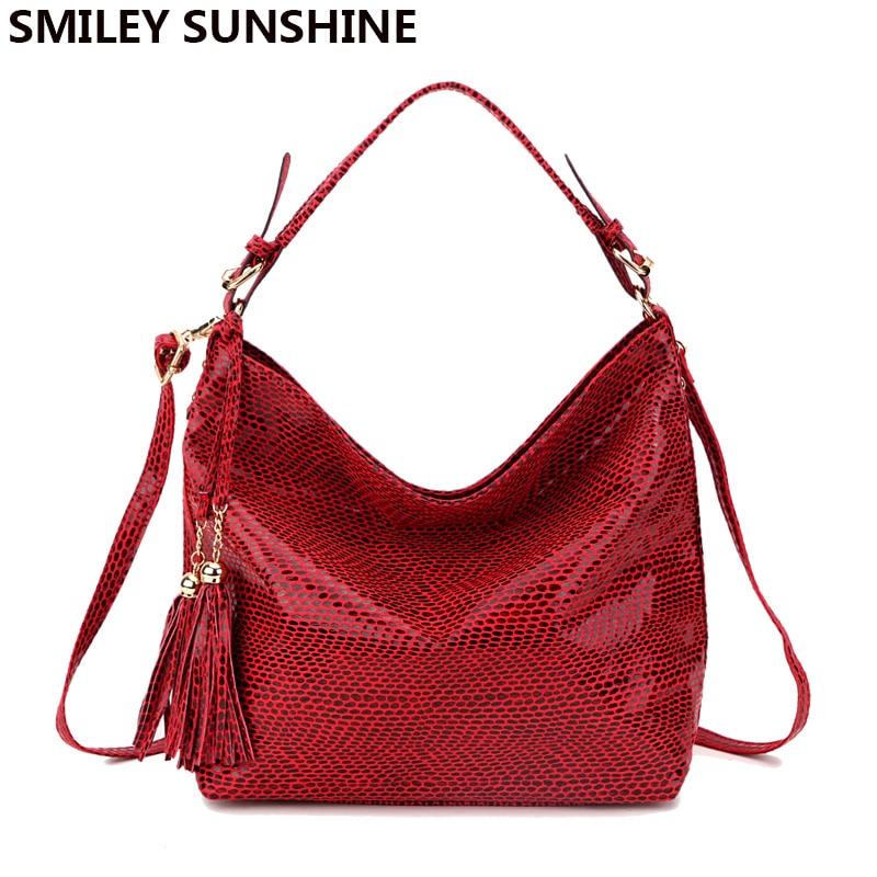 SMILEY SUNSHINE brand women handbag leather tote bag female serpentine shoulder bags ladies big hand bags hobo messenger bag red