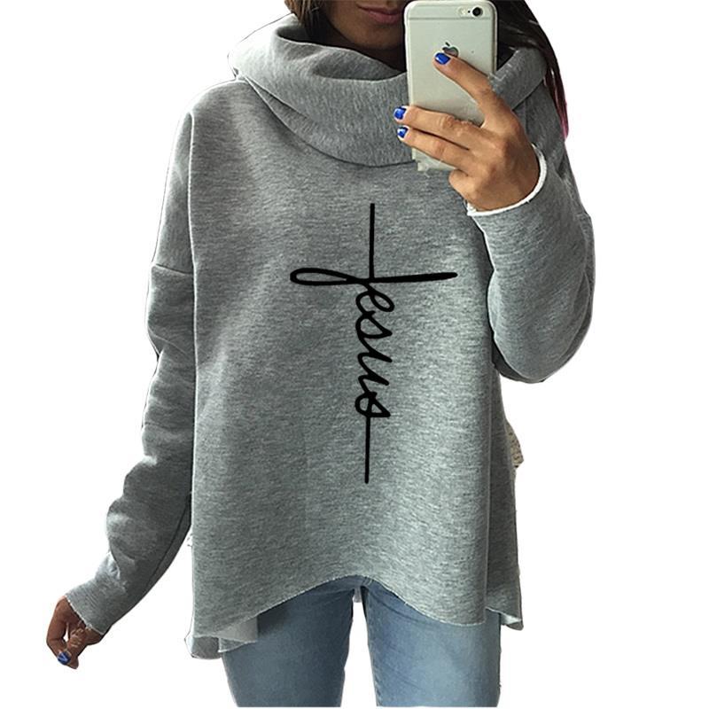 2019 New Fashion Faith Print Kawaii Tops Sweatshirt Femmes Hoodies Women Clothings Print Youth Pattern Buckle Autumn