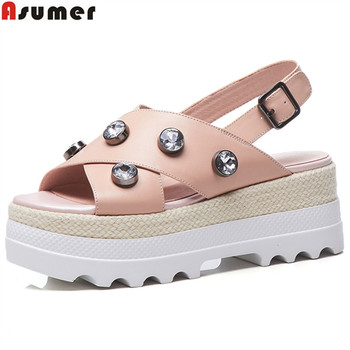 ASUMER 2020 fashion summer new shoes woman buckle flat platform casual sandals women buckle genuine leather shoes white pink