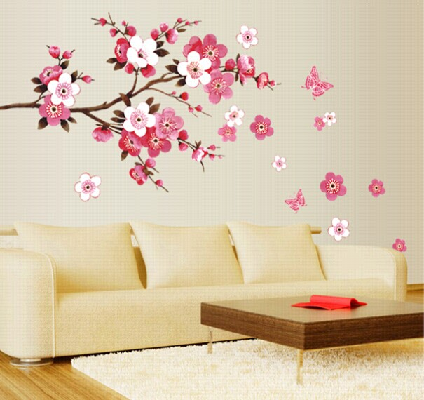 china style red peach flowers vinyl wall stickers home decor rooms living sofa wallpaper design wall