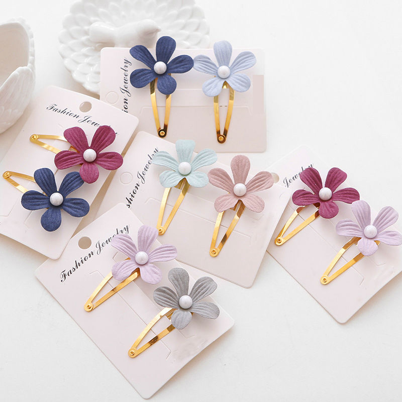 #AD17033 Boutique Girls Flower Hair Clip Ribbon Wrapped Snap Clips/Barrettes