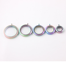 6pcs 20mm 25mm 30mm 34mm 38mm Rainbow screw 316L Stainless steel floating locket pandent Glass necklace
