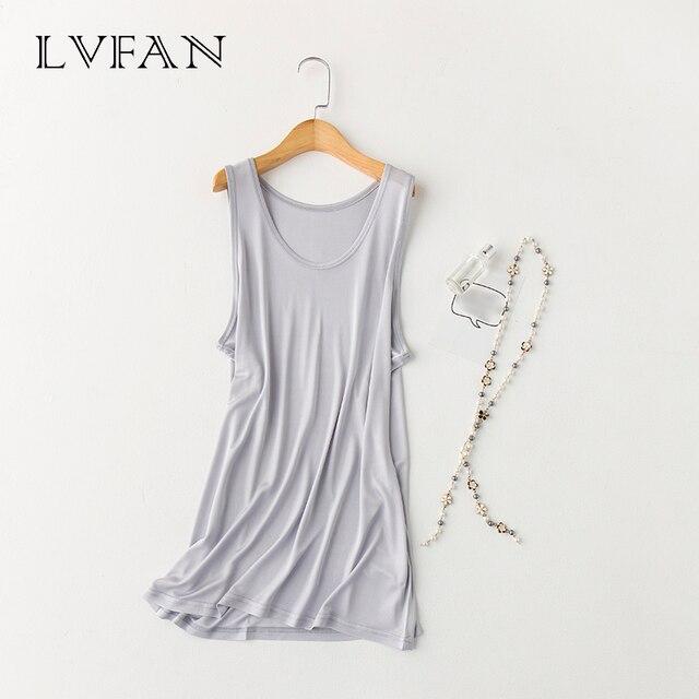 LVFAN Men's 100% Nature silk Sleep Tops Male Sleepwear Sleeveless Solid Loose Plus Size  Knitted Camisole