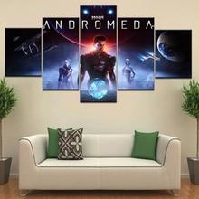 O jogo Mass Effect Andromeda tem caído cartazes de Parede Da Lona pintura da arte 5 Painel HD Impressão Para casa sala de estar decoração