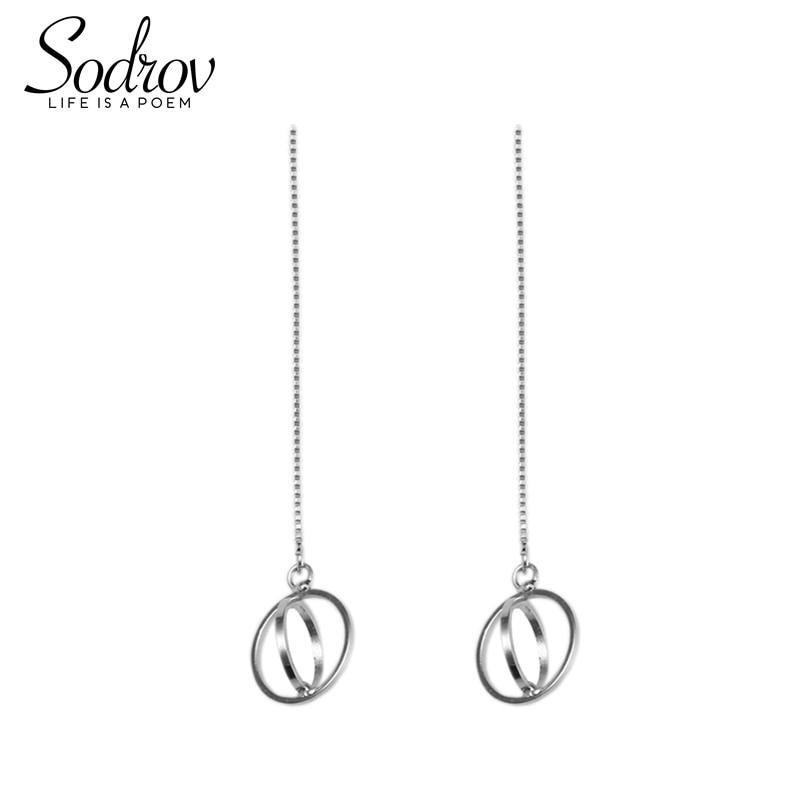 SODROV Drop Earrings 925 Sterling Silver Simple Round Earrings Fashion Gifts Women's Geometric Fine Jewelry HE008