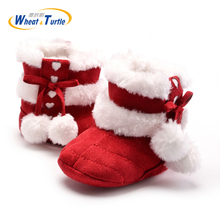 Mother Kids Baby Shoes First walkers Unisex Winter Warm Boots For Infant Baby Soft Cotton Thinken Faux Fur Boots With Plush Ball стоимость