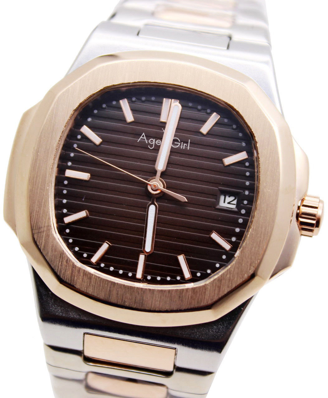 Automatic Mechanical Mens Luminous Rose Gold Stainless Steel Transparent Glass Back Black Blue Gents Watch