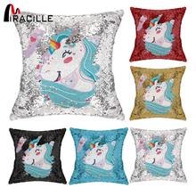 Miracille Customized Sequin Pillowcase Cushion Cover with Your Image Throw Pillow Case Home Decor for Family Friends Drop Ship