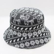618bf23b86f Summer Outdoor Adult Cotton Men Elephant Print Beach Bucket Hats fof Women  Sun Hat