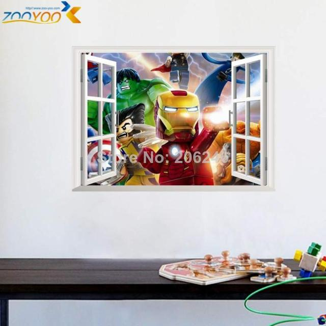 3d Fake Window Wall Stickers For Kids Room Home Decoration Diy Cartoon Lego  Movie Mural Art