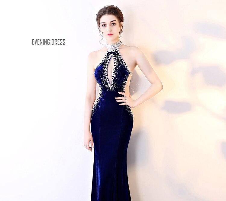 Manches Diamant Sirène Partie Longues De Mince Main Cousu Robe Perspective Sexy Nu Sladuo Halter Soirée Saphir Élégant Bleu Dos gq4x8w1a