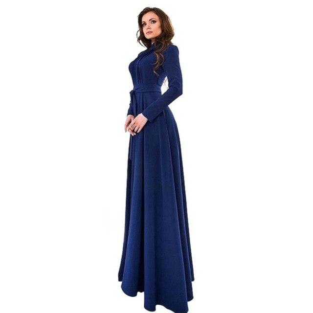 Elegant Womens Kaftan Abaya Islamic Muslim Evening Party Long Sleeve  Vintage Long Maxi Dress Plus Size c7431af84a98
