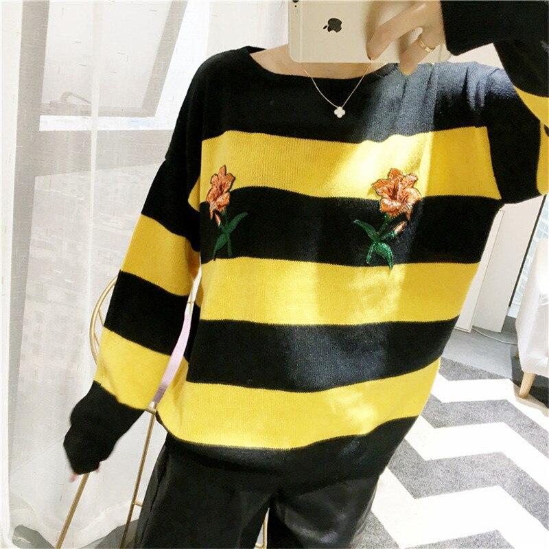 Новая мода женский осенне-зимний свитер с цветочной вышивкой пуловеры повседневные теплые женские трикотажные свитера пуловеры Леди