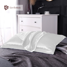 Liv-Esthete Luxury 100% Nature Mulberry Satin Silk White Pillowcase Queen King Multicolor 19 Color Silky Pillow Case Wholesale liv esthete luxury blue 100% nature mulberry satin silk luxury pillowcase wholesale 19 color silky bed pillow case for women men