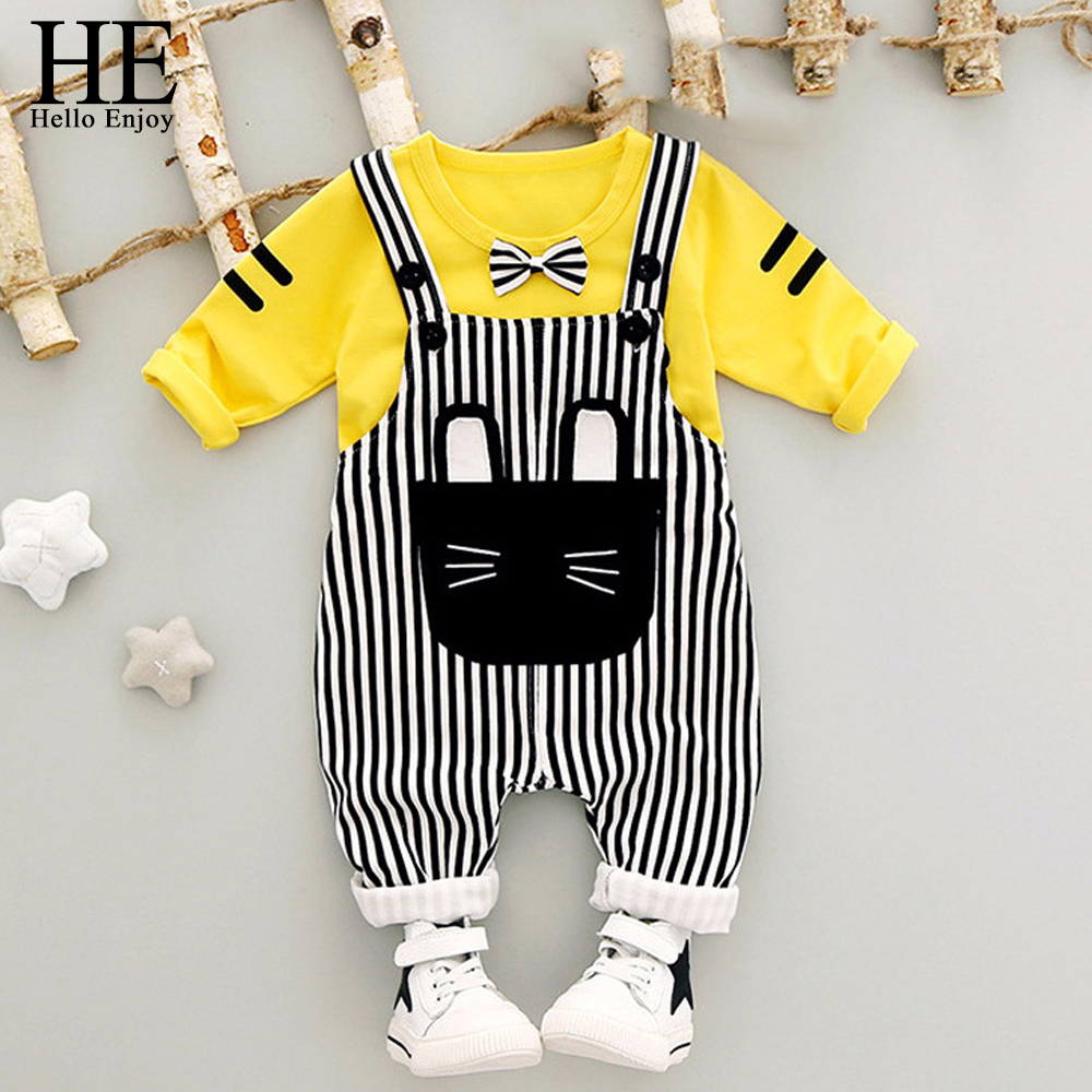 HE Hello Enjoy Baby Boy Clothes Spring 2018 Infant Clothing Sets Cartoon Bow Tops+Stripe Overalls Baby Girl Outfit Newborn Set newborn baby girls clothes infant 3pcs suits tops pants love pattern headband baby girl clothing set toddle outfit sets