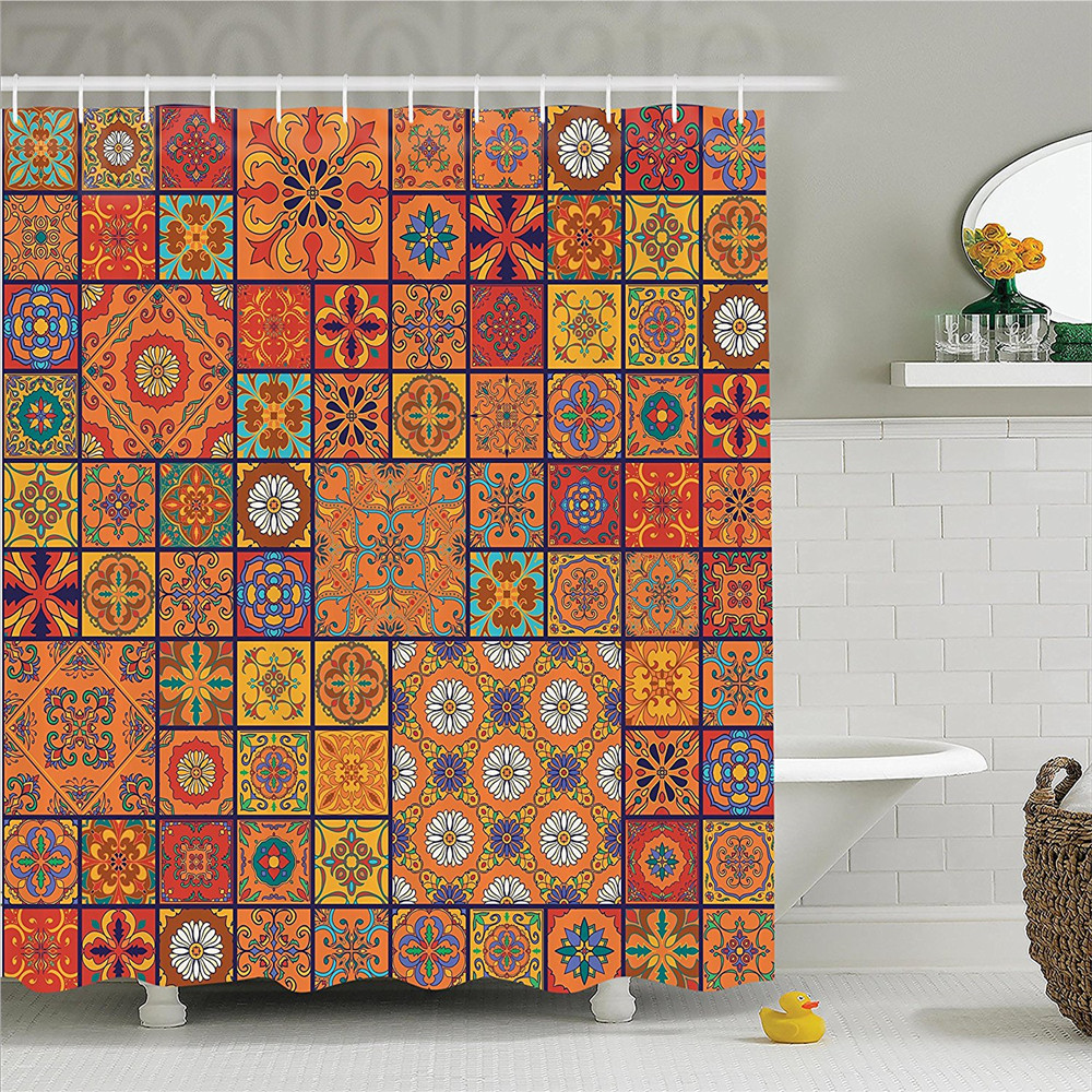 Moroccan Collection Of Style Geometric Patterns Floral Ornamental Patchwork Print Polyester Bathroom Shower Curtain Or