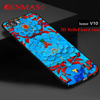 Honor V10 Cover Hard PC Ultra Thin 3D Relief Painted Back Cover Case For Huawei V10