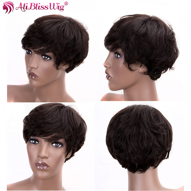 Pixie Cut peruka peruka z naturalnych krótkich włosów #2 130% gęstość faliste brazylijski Remy włosów maszyna wykonane peruki dla kobiet pełna koniec AliBlissWig