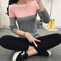 DisappeaRanceLove Brand Sweater Women Knitted Sweater Short Contrast Color Splice Sweater For Women Simple Slim Turtleneck