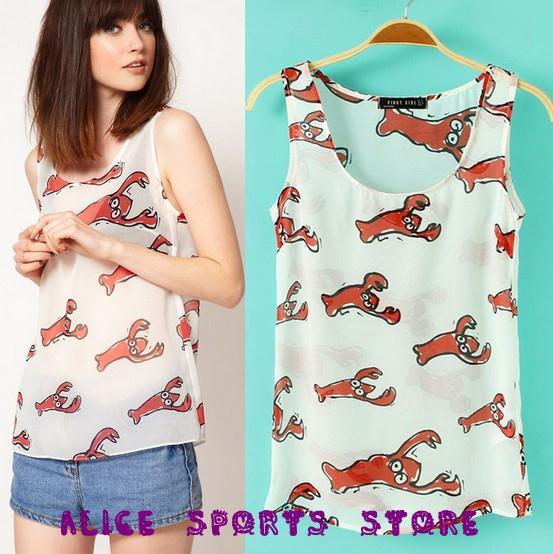 2013 New Fashion Womens' Stylish Comic Lobster Print Blouse Sleeveless O-Neck Casual Girl T Shirt Slim Brand Design Tank