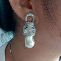 Keshi Pearl Earrings White Golden Plated Dragon CZ Earrings