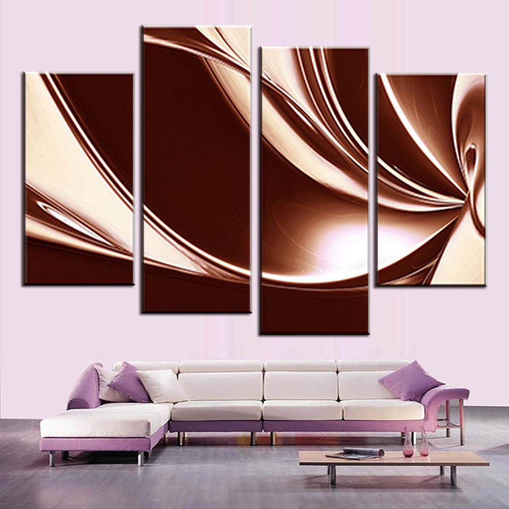 Abstract wall art painting - Aliexpress Com Buy 4 Pcs Set Modern Abstract Wall Painting Brown Cream Digital Canvas Wall Art Picture Combined Unframed Canvas Painting From Reliable