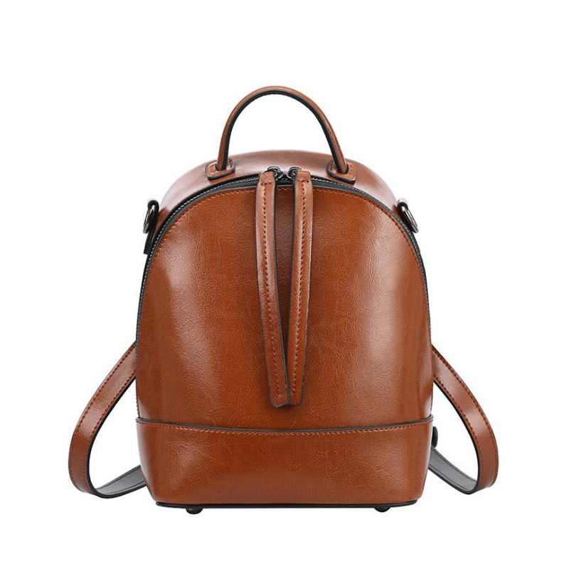 NEW Fashion solid Genuine Leather Backpack Women Bags vintage Style brown Backpack Girls School Bags Women's zipper shoulder bag стоимость