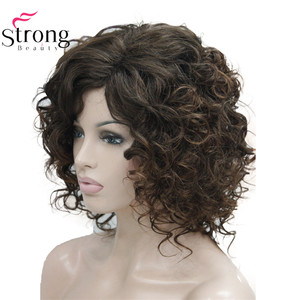 Image 3 - StrongBeauty Short Thick Dark Brown with Highlights Super Curly Layered Full Synthetic Wig for Women