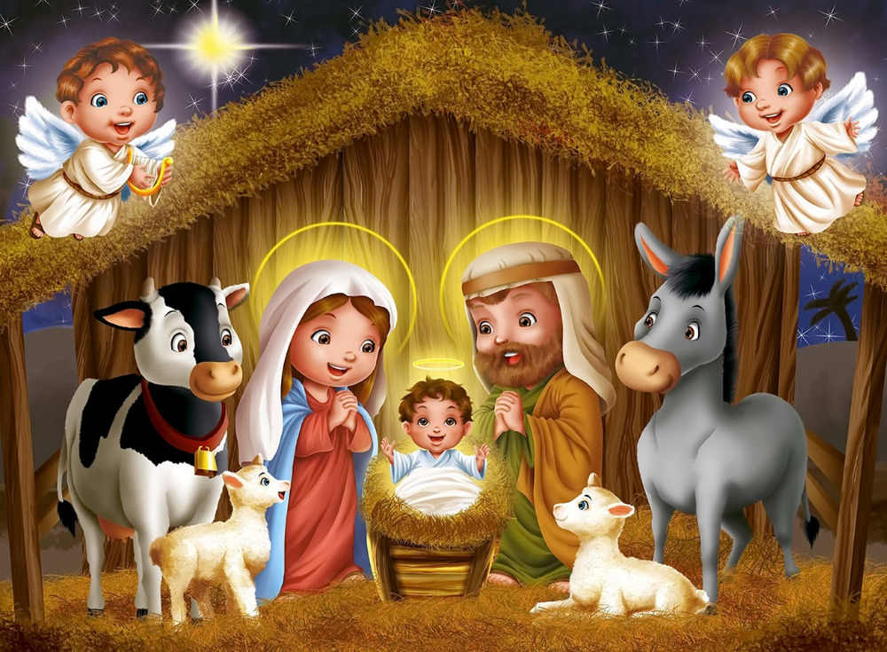 Christmas Nativity.Lb 9x6ft Christmas Nativity Scene Vinyl Photography Backdrops Jesus In The Manger Studio Photo Background Props Holiday Decor